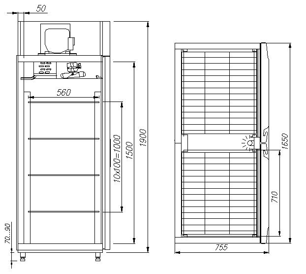 Холодильный шкаф CARBOMA V1400 - 1