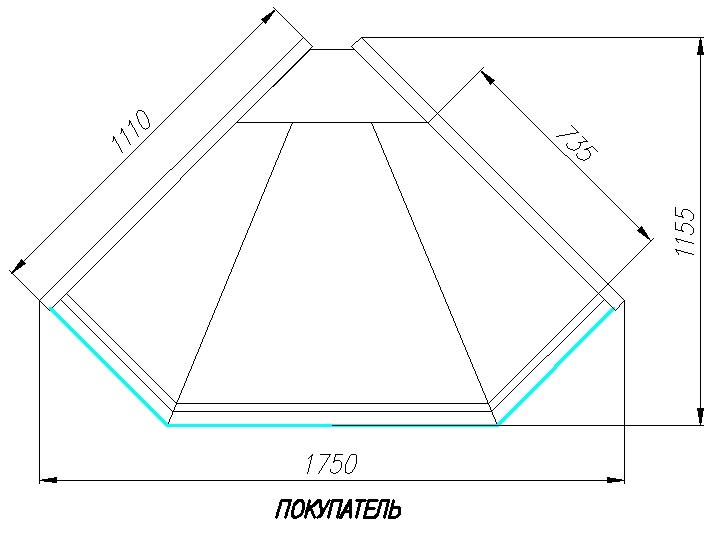 Холодильная витрина CARBOMA ВХСу-1 BAVARIA (G110 VM-5,внешний угол) - 1