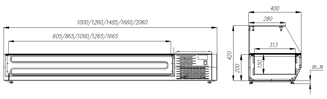 Холодильная витрина CARBOMAIDO A40 SM 1.3-G 0430 - 1