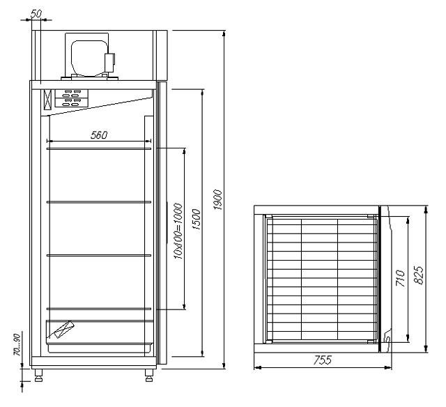 Холодильный шкаф CARBOMA M700GN-1-G-MHC 9005 - 8