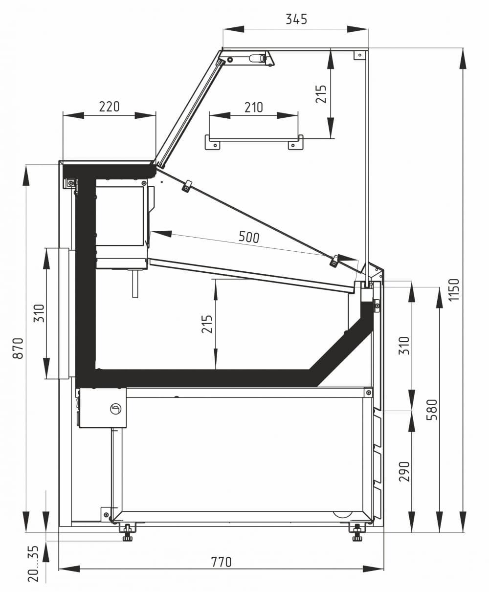 Холодильная витрина CARBOMA COLORE GС75 SV1.0-1 9006-9003 - 15
