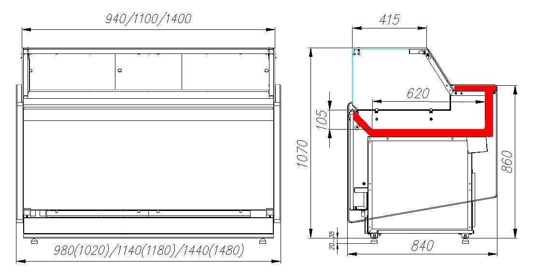 Нейтральная витрина CARBOMAVISION KC82N1.0-1 - 5