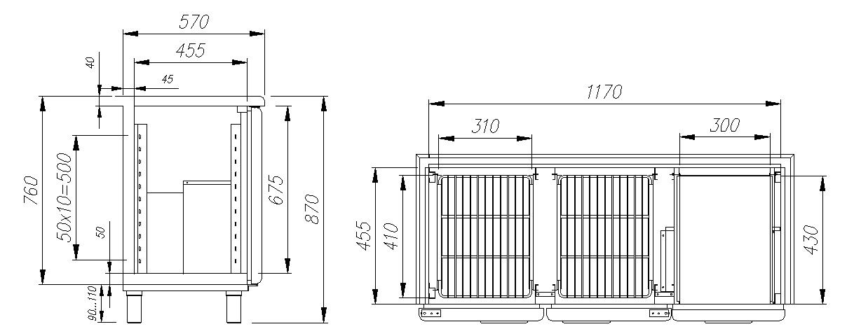 Холодильный стол CARBOMA T57 M2-1 9006 (BAR-250) - 1