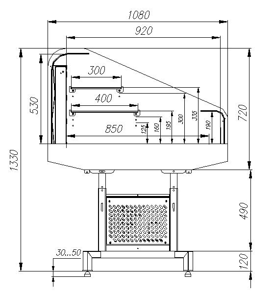 Холодильная витрина CARBOMA FUDZI PF11-13 VM1.25-29006 (средниймодуль) - 2
