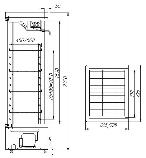 Холодильный шкаф CARBOMA R560С INOX - 1