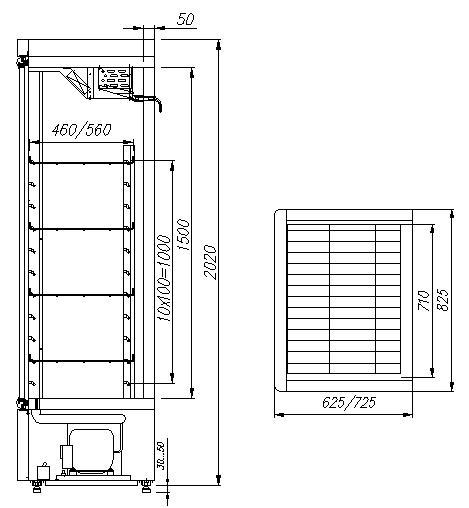 Холодильный шкаф CARBOMA V560С INOX - 1