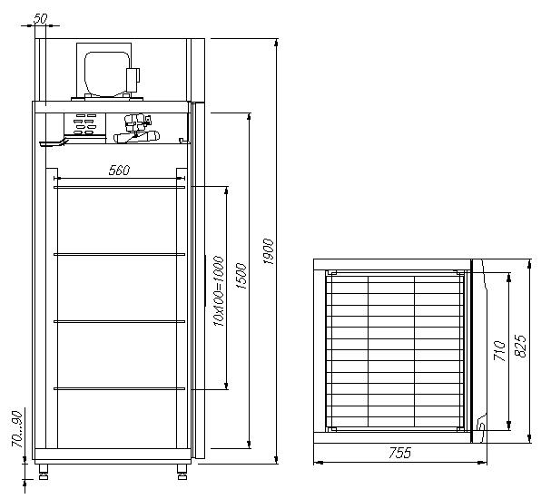 Холодильный шкаф CARBOMA V700 INOX - 1