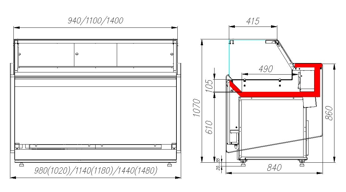 Холодильная витрина CARBOMAVISION KC82SM1.2-1 - 6