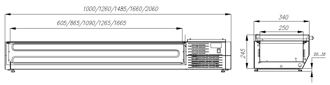 Холодильная витрина CARBOMAIKI A30 SM 1.3 0430 с крышкой - 1