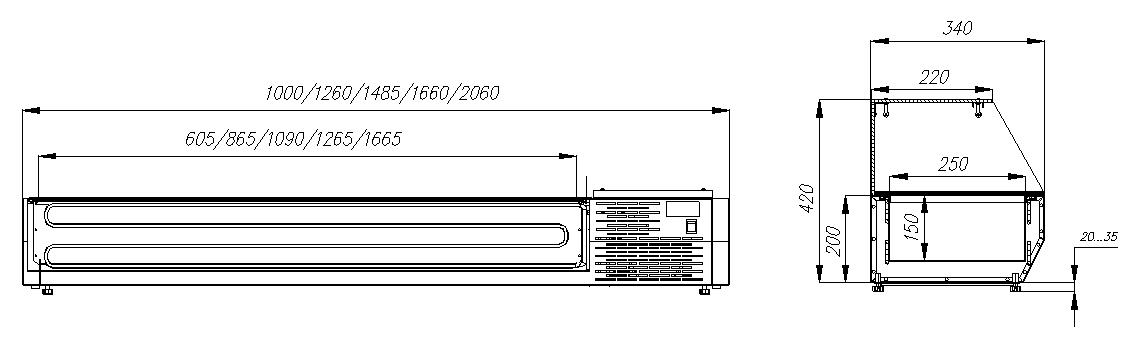Холодильная витрина CARBOMAIKI A30 SM 1.3-G 0430 - 1