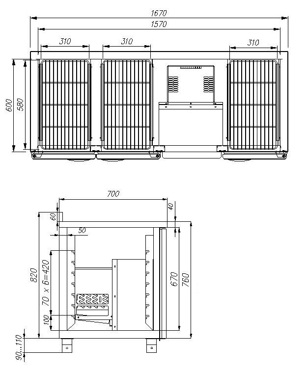 Морозильный стол ПОЛЮС T70 L3-1 9006 (3GN/LT) - 1
