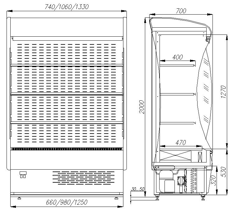 Холодильная горка ПОЛЮС ВХСп-1.0 PROVANCE (F20-07VM1.0-2) 0011-3020 - 1