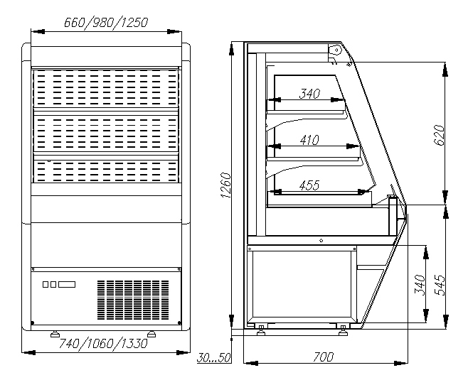 Холодильная горка CARBOMA 1260/700 ВХСп-1.0 BRITANY (F13-07VM1.0-2) 0011-3020 - 1