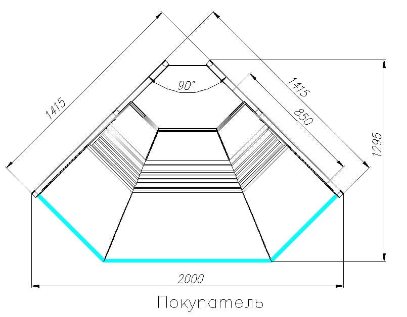 Холодильная витрина CARBOMA ATRIUM G120VV-5(внешнийугол) - 5