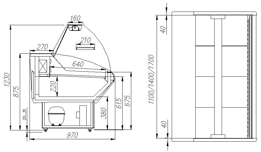Холодильная витрина CARBOMA ВХС-1.2 PALM (G95SM1.2-1) - 1