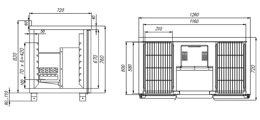 Холодильный стол ПОЛЮС T70M2-1-G 9006 (2GNG/NT) - 1