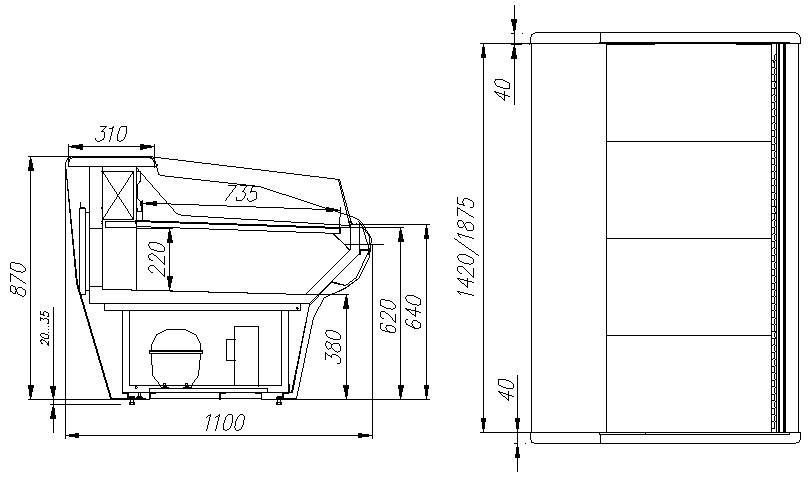 Холодильная витрина CARBOMA ВХСо-1.5 BAVARIA (G110 SM 1.5-2) - 1