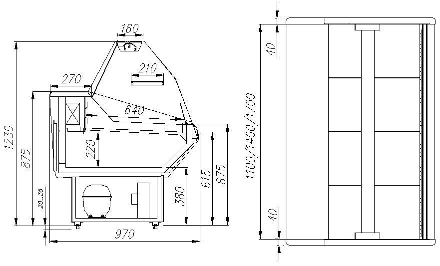 Холодильная витрина CARBOMA ВХСр-1.2 PALM (G95SV1.2-1) - 2