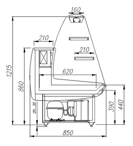 Кондитерская витрина ПОЛЮС ЭКО K85 SM 1.2-1 (ВХСд-1.2) - 2