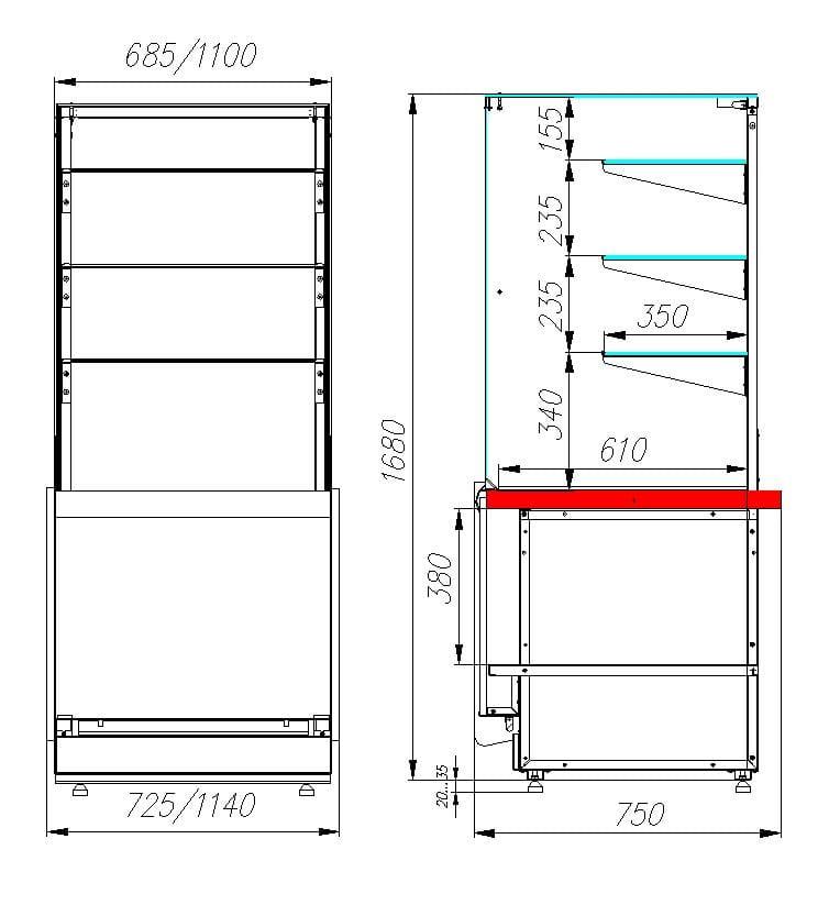 Тепловая витрина CARBOMAVISION KC82SH0.8-11 (башня) - 2