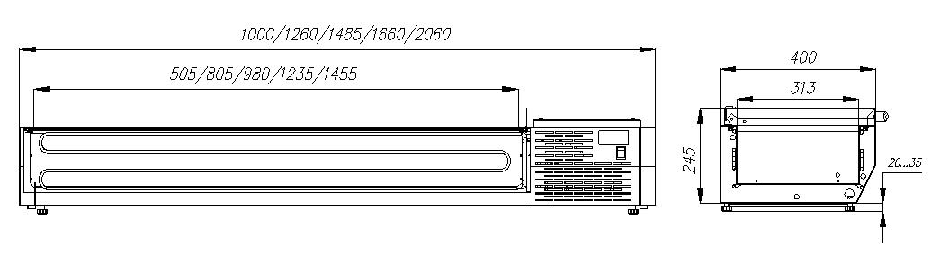 Холодильная витрина CARBOMAIDO A40 SM 1.0 0430 скрышкой - 1