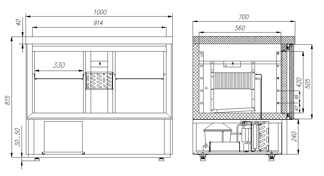 Холодильный стол CARBOMA T70 M2GN-2 9006 - 2