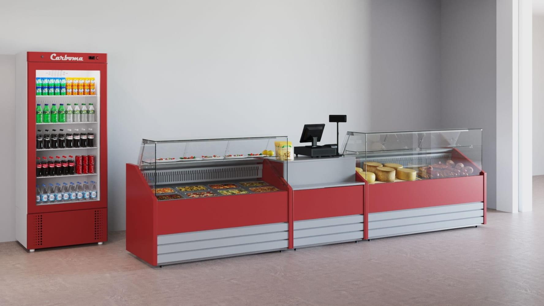 Холодильная витрина CARBOMA COLORE GС75 VV1.8-1 (динамика) 9006-9003 - 16