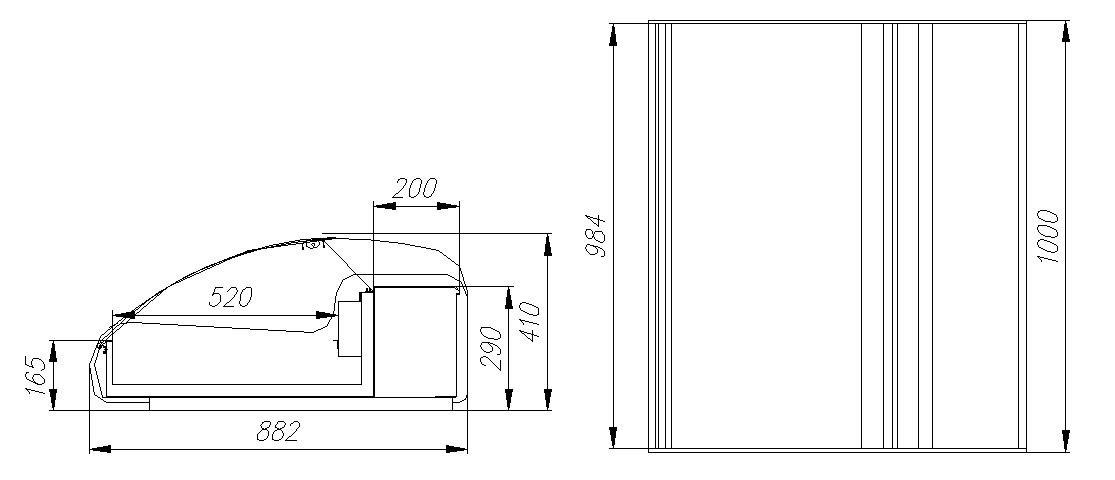 Тепловая витрина CARBOMA ВТ-1.0 АРГО XL ТЕХНОARGUS(A89SH1.0-1) - 2