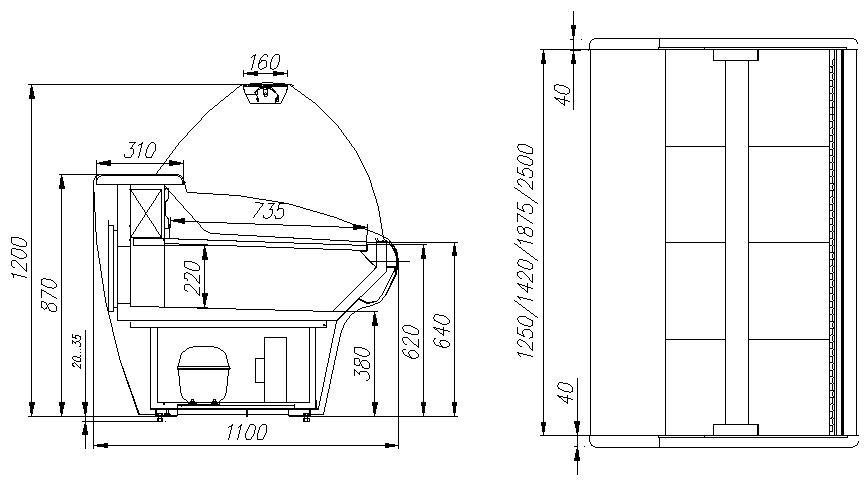 Холодильная витрина CARBOMA ВХС-2.5 BAVARIA (G110 SM 2.5-1) - 1