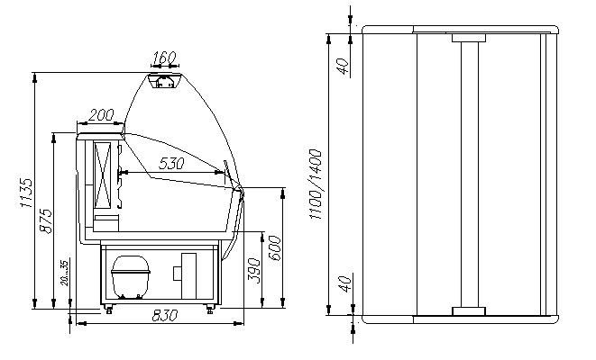Морозильная витрина ПОЛЮСЭКОG85 SL 1.2-1 (ВХСн-1.2) - 1