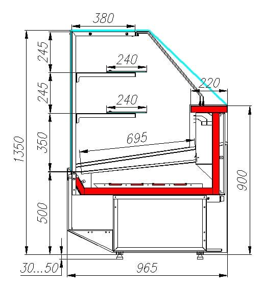 Тепловая витрина CARBOMACASABLANCA KC95VH1.2-1 - 3