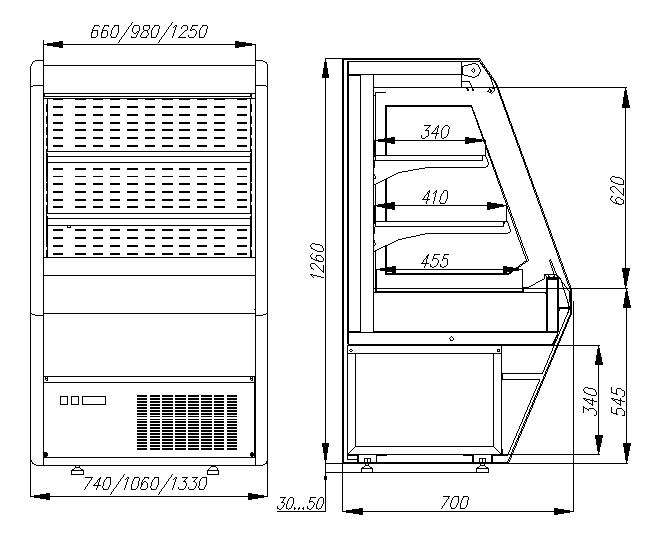 Холодильная горка CARBOMA 1260/700 ВХСп-1.3 BRITANY (F13-07VM1.3-2) стеклопакет 9006 - 1
