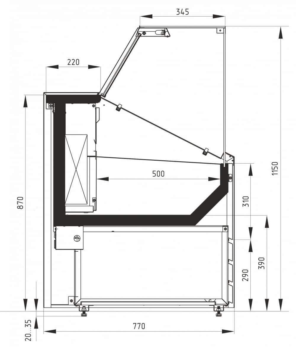 Морозильная витрина CARBOMA COLORE GС75 SL1.8-1 9006-9003 - 16