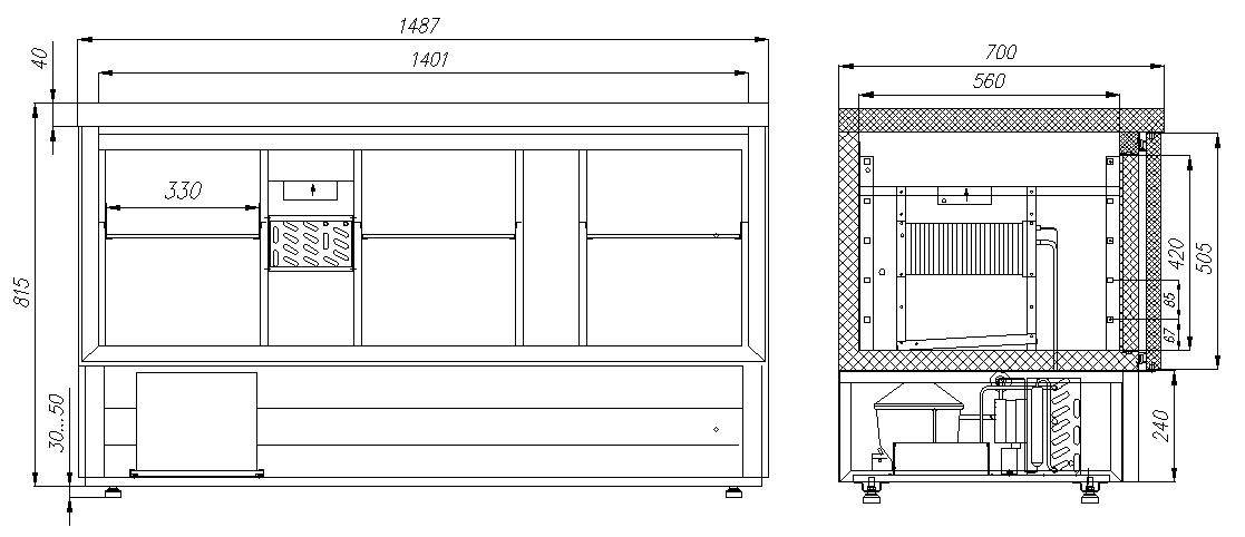 Холодильный стол CARBOMA T70 M3GN-2 0430 - 2