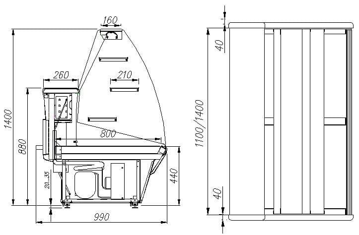 Кондитерская витрина ПОЛЮС ВХСд-1.5 PLUM (K95SM1.5-1) - 4