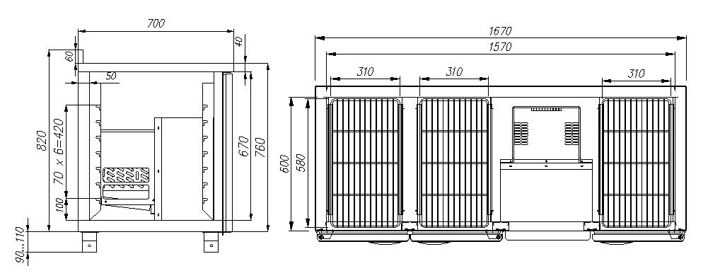 Холодильный стол CARBOMA T70M3-10430(3GN/NT) - 1