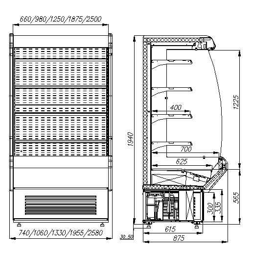 Холодильная горка CARBOMA ВХСп-0.7 CRETE (F20-08VM0.7-2) 0011-3020 - 2