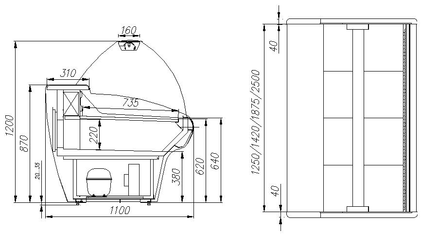 Холодильная витрина CARBOMA ВХС-1.25 BAVARIA (G110 SM 1.25-1) - 1