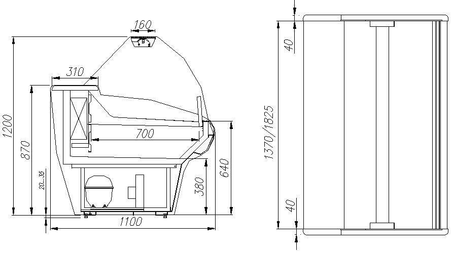 Морозильная витрина CARBOMA G110 SL 1.5-1 (ВХСн-1.5) - 1