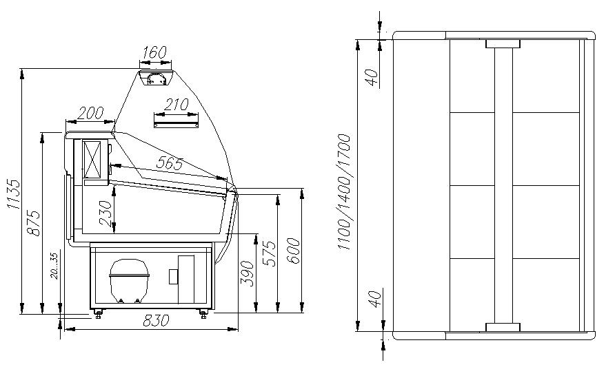 Холодильная витрина ПОЛЮСЭКОВХС-1.2 PRAIA (G85 SM 1.2-1) - 2