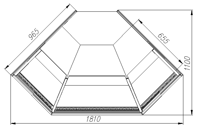 Нейтральная витрина CARBOMACASABLANCA KC95N-5(внешний угол 90) - 1