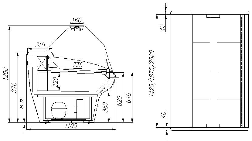 Холодильная витрина CARBOMA ВХСр-2.5 BAVARIA (G110 SV 2.5-1) - 1