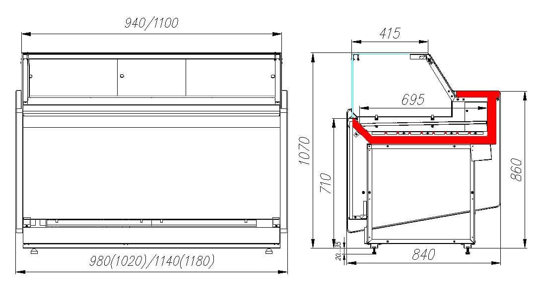 Тепловая витрина CARBOMAVISION KC82SH1.2-1 - 5