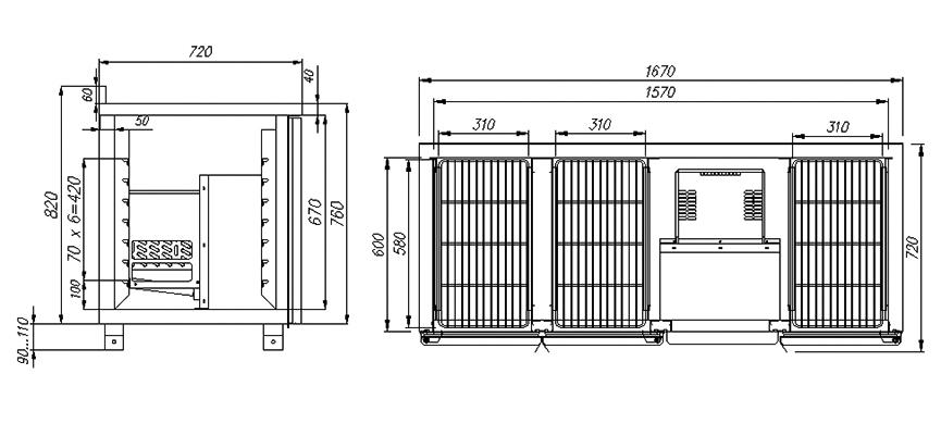 Холодильный стол CARBOMA T70 M3-1-G 0430 (3GNG/NT) - 1