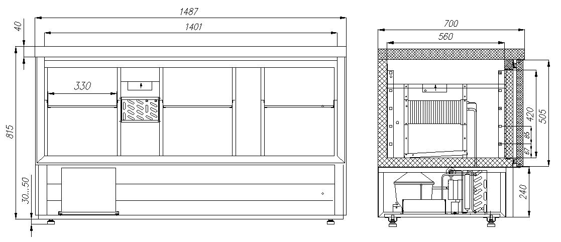 Холодильный стол для салатов (саладетта) CARBOMA T70 M3salGN-2 9006 - 3