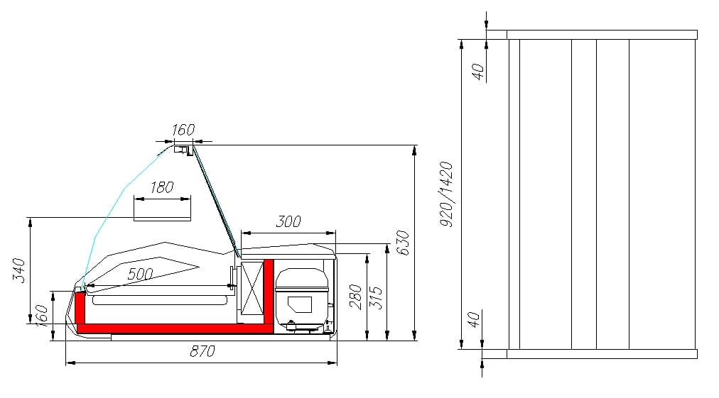 Холодильная витрина CARBOMA ВХС-1.5 ARGO (A87SM1.5-1) - 1