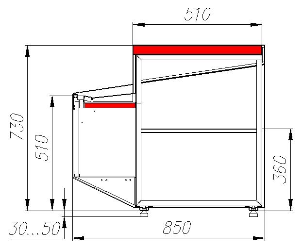 Неохлаждаемый прилавок CARBOMACASABLANCA KC95N0.8-7 - 1